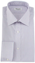 Charvet Micro-Check Barrel-Cuff Dress Shirt, Red/Blue
