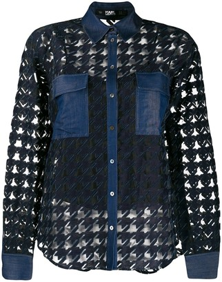 Karl Lagerfeld Paris Burn out denim blouse