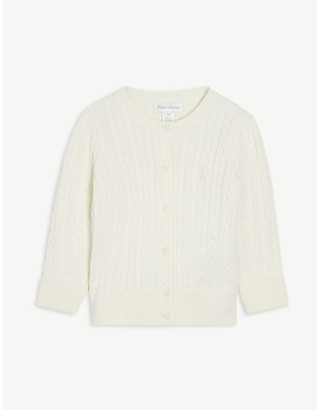 Ralph Lauren Logo cable knit cotton cardigan 3-24 months