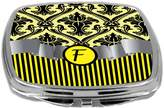 Rikki Knight Compact Mirror, Letter f Initial Yellow Damask and Stripes