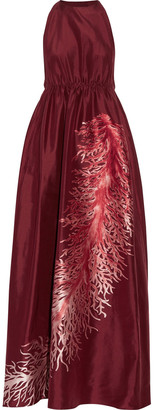 Valentino Gathered Embroidered Silk-faille Gown