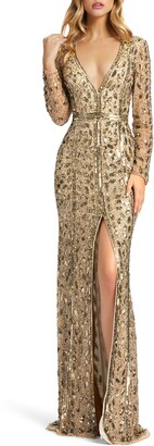 Mac Duggal Embellished Long Sleeve Evening Gown