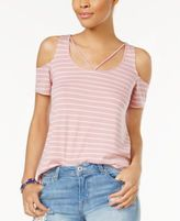 Planet Gold Juniors' Striped Cold-Shoulder T-Shirt