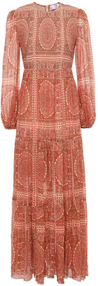 Zimmermann Primrose Shirred Printed Cotton And Silk-blend Maxi Dress