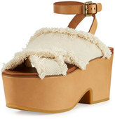 See by Chloe Adele Frayed Canvas Platform Clog Sandal, Latte