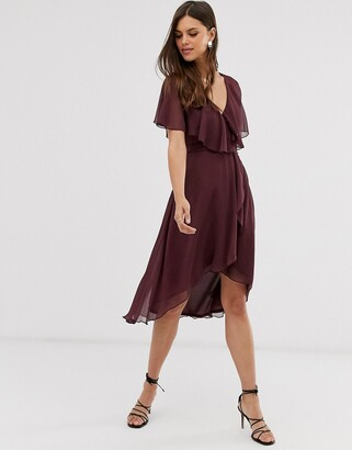 Asos Design DESIGN cape back dipped hem midi dress-Purple