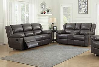 """Container Furniture Direct Oregon Fabric Upholstered Traditional Reclining Set with 83.5"""" Sofa and Loveseat"""