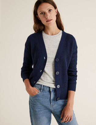 Marks and Spencer Cotton Ribbed Cardigan with Wool
