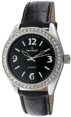 Peugeot Women's Crystal Bezel Black Leather Watch
