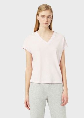 Emporio Armani Travel Essential T-Shirt With V-Neck And Contrasting Profiles