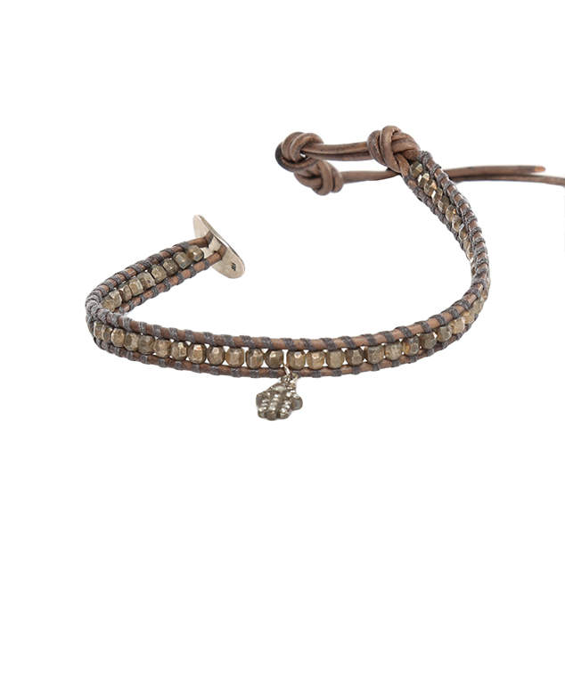 Chan Luu Grey Indian Beads on Grey Leather with Champagne Diamond Charm
