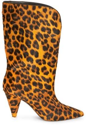 ATTICO Leopard Calf-Hair Mid-Calf Boots