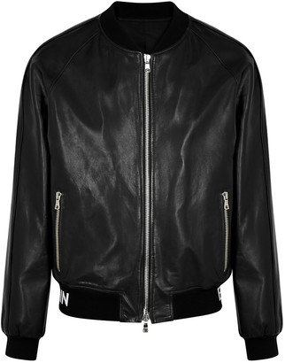 Balmain Black leather bomber jacket