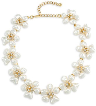 Kenneth Jay Lane Crystal & Faux-Pearl Flower Necklace