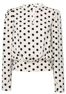 Dorothy Perkins Womens Blush Spot Print Long Sleeve Blouse