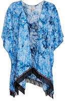 Jc Sunny JC Sunny Women's Kimono Cardigans BLUE - Blue Tie-Dye Fringe-Hem Kimono - Women