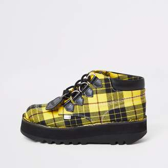 Kickers River Island Womens Yellow check Hi creeper boots