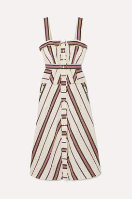 Anna Mason - Olivia Striped Cotton-blend Twill Peplum Dress - Pink
