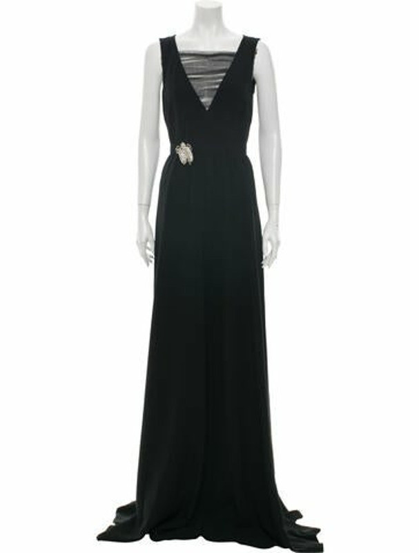 Rochas V-Neck Long Dress Black