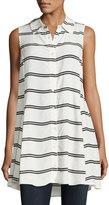 Catherine Malandrino Sleeveless Striped Tunic, White/Black