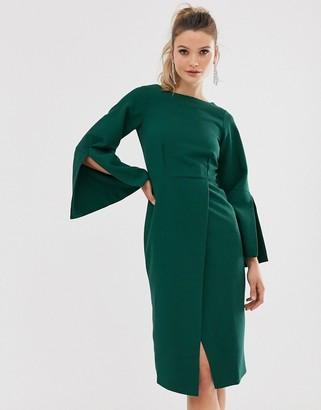 Closet London Closet split sleeve mid dress