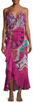 Camilla Embellished Crepe Ruffle Maxi Wrap Dress, Desert Discotheque