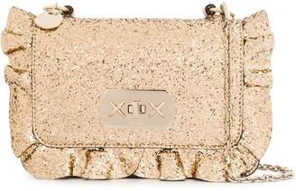 Red(V) Ruffle-Detailed Glitter Crossbody Bag