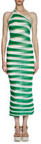 Stella McCartney One-Shoulder Transparent-Striped Long Dress, Lily/Green