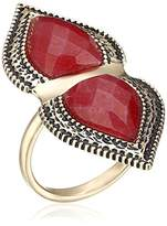 "Barse Cleopatra"" Bronze and Faceted Bordeaux Quartz Ring"