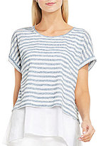 Vince Camuto Short Sleeve Sheer Stripe Jersey Double Layer Top