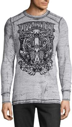 Affliction Graphic Distressed Reversible Cotton Top
