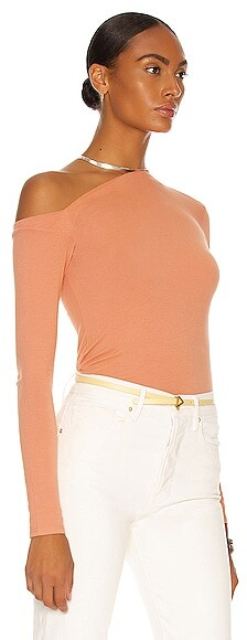 Thumbnail for your product : Enza Costa Angled Exposed Shoulder Long Sleeve Top in Peach