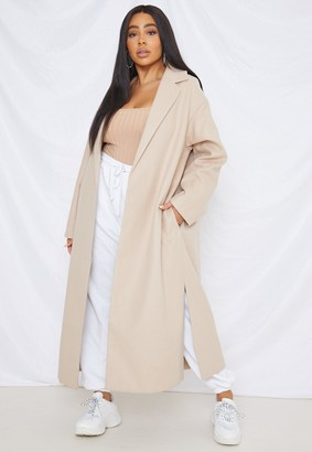 Missguided Plus Size Camel Side Split Midaxi Coat