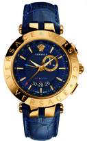 Versace V-Race GMT Alarm 29G70D282 S282 Women's Blue Genuine Leather Watch