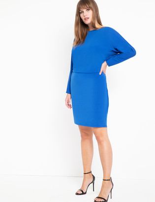 ELOQUII Dropped Waist Dolman Sleeve Dress