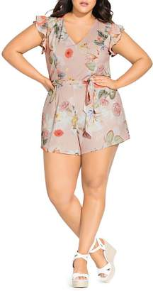 City Chic Plus Summer Rose Floral-Print Romper