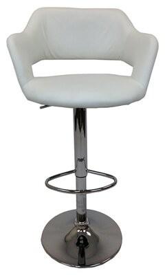 Orren Ellis Shoaib Swivel Adjustable Height Bar Stool Upholstery: White