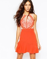 Adelyn Rae Lace Dress with Cut Out Detail