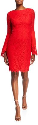 Shani Boho Flared-Sleeve Lace Sheath Dress