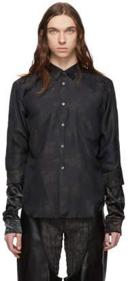 Comme des Garcons Black Jacquard Flower Crushed Velour Shirt