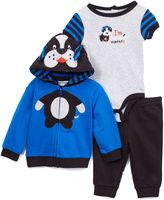 Buster Brown Blue & Navy Puppy Hoodie Set - Infant