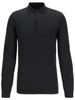 HUGO BOSS - Slim Fit Polo Shirt In Wool Jersey With Metallic Accents - Black