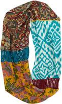 Neiman Marcus Flower & Ikat-Print Crochet Eternity Scarf