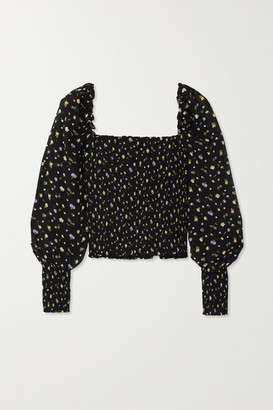 Reformation Pinto Smocked Floral-print Woven Top - Black