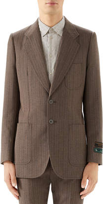 Gucci Men's Patch-Pocket Tweed Two-Button Jacket