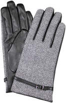 Dents Leather Gloves with Tweed Cuff