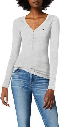 Tommy Jeans Women's Original Rib Henley Long Sleeve Button Front T-Shirt
