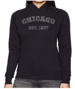La Pop Art Women's Word Art Hooded Sweatshirt - Chicago 1837