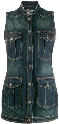 Chanel Pre Owned Sleeveless Denim Jacket