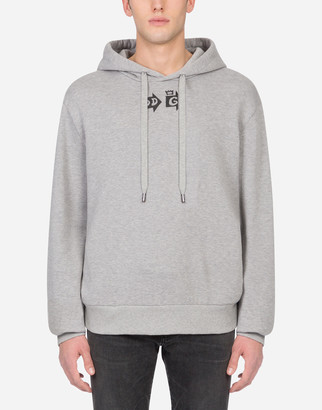 Dolce & Gabbana Jersey Hoodie With Print And Patch